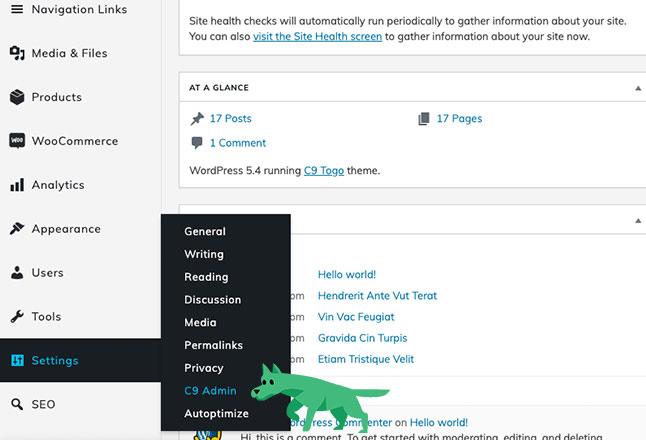 Configure WordPress admin settings