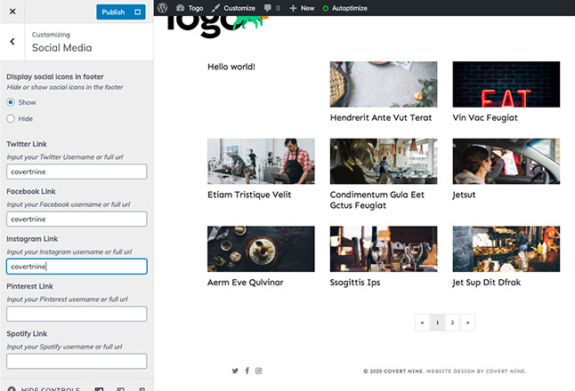 Add social links to your profiles for the footer icons