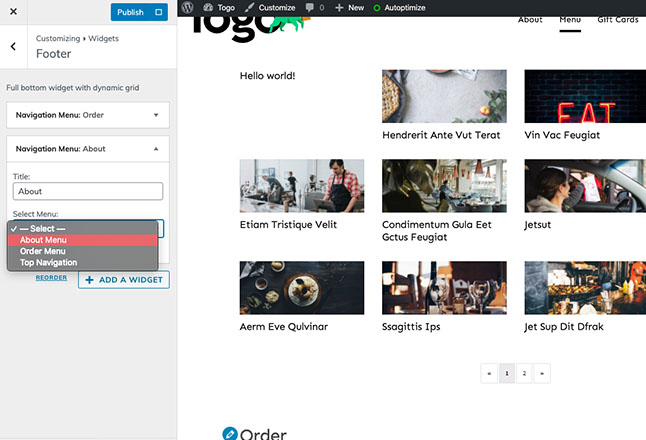 Adding a second menu to footer for about